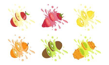 Sweet Fruits and Berries with Splashes Set, Apple, Strawberry, Lemon, Orange, Kiwi, Kiwano, Melon Vector Illustration