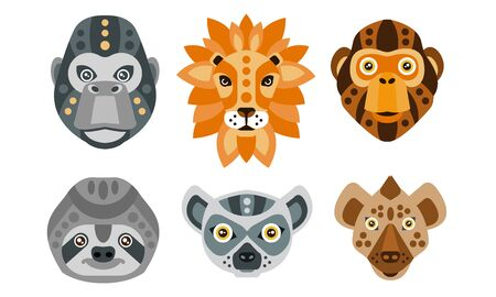 Collection of Animal Heads with Tribal Ethnic Ornament, Monkey, Lion, Gorilla, Sloth, Lemur, Coyote Vector Illustration on White Background. Banque d'images - 129958043