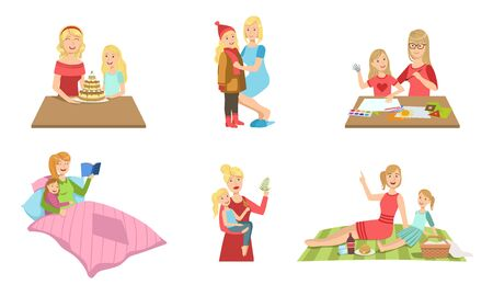 Mother and Daughter Performing Daily Activities Together Set, Sewing, Baking, Painting, Reading Book, Playing, Having Picnic Vector Illustration