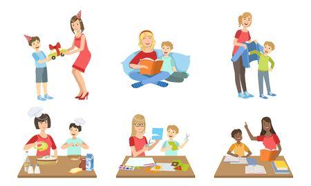 Mère et fils effectuant des activités quotidiennes ensemble, cuisine, livre de lecture, faire des appliques, donner des cadeaux Illustration vectorielle sur fond blanc.