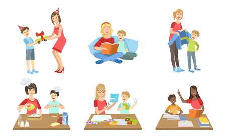 Mother and Son Performing Daily Activities Together Set, Cooking, Reading Book, Making Applique, Giving Gifts Vector Illustration on White Background.