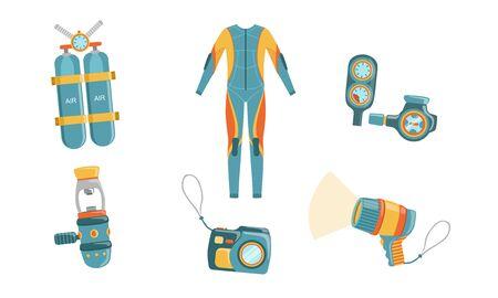 Diving Equipment Set, Wetsuit, Underwater Mask, Snorkel, Aqualung, Camera, Depth Gauge Vector Illustration on White Background.