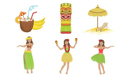 Collection of Traditional Symbols of Hawaiian Culture, Coconut Cocktail, Tiki Mask, Straw Umbrella, Beautiful Girls Dancing in Traditional Costume Vector Illustration