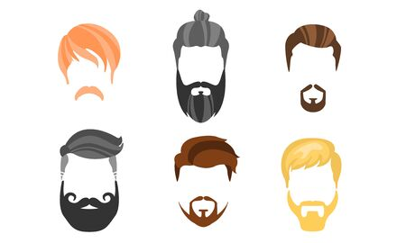 Different Male Hairstyles, Beards and Mustaches, Hipster Types of Haircuts Vector Illustration
