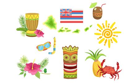 Collection of Hawaiian Traditional Objects, Coconut Cocktail, Turtle, Sun, Tiki Mask, Crab, Pineapple, Hibiscus Flower Vector Illustration