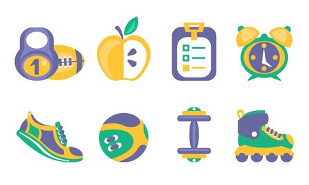 Fitness and Sport Icons Set, Healthy Lifestyle Elements, Kettlebell, Ball, Apple, Training Schedule, Alarm Clock, Dumbbell, Sneaker, Dumbbell, Rollers Vector Illustration Illustration