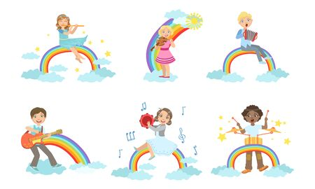Children Playing Musical Instruments while Sitting on Rainbow Set, Boys and Girls Playing Flute, Violin, Accordion, Guitar, Tambourine, Drum Vector Illustration