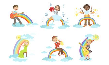 Children Playing Musical Instruments while Sitting on Rainbow Set, Boys and Girls Playing Guitar, Tambourine, Drum, Harp, Saxophone Vector Illustration