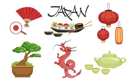 Collection of Japan Traditional Famous Symbols, Travel to Asia Design Elements Vector Illustration Illustration