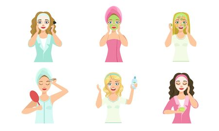 Beautiful Girls Applying Different Facial Masks for Skin Care and Treatment Set, Young Woman Cleaning and Caring for Their Faces, Facial Treatment, Beauty, Hygiene Vector Illustration on White Backgro
