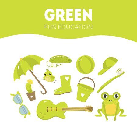 Different Objects in Green Color, Fun Educational Game for Preschool Kids Vector Illustration Illusztráció