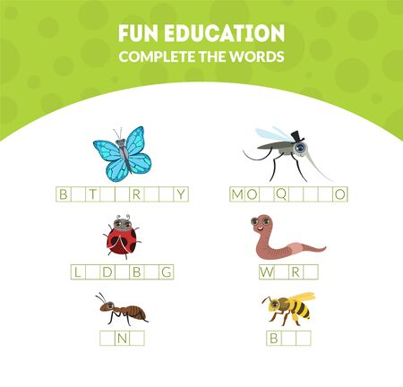 Complete the Words, Fun Educational Game for Preschool Kids, Butterfly, Mosquito, Ladybug, Worm, Ant, Bee Vector Illustration, Web Design. Ilustracja