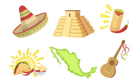 Traditional Cultural Mexico Symbols Set, Sombrero Hat, Map, Taco, Mayan Pyramid, Acoustic Guitar Vector Illustration