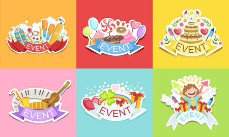 Cute Holiday Stickers Set, Colorful Badges for Cards, Patches, Party Decoration Vector Illustration Stock Illustratie