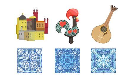 Traditional Cultural Portugal Symbols Set, Historical Signs of Lisbon, Travel to Portugal Design Elements Illustration