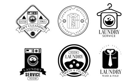 Laundry Service Room, Wash and Fold Labels Set, Dry Cleaning Monochrome Vintage Badges Vector Illustration