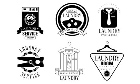 Laundry Service Room, Wash and Fold Labels Set, Laundry Service Vintage Badges Monochrome Vector Illustration