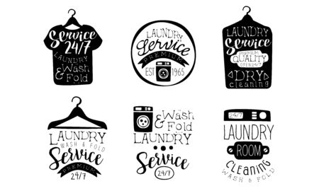 Laundry Service, Wash and Fold Labels Set, Dry Cleaning Vintage Hand Drawn Badges Monochrome Vector Illustration Illustration