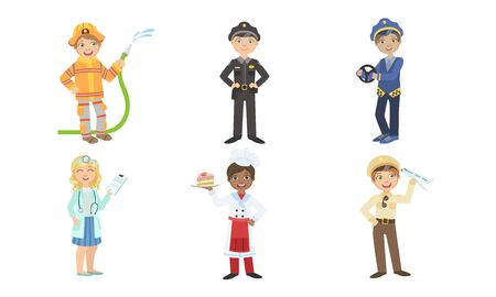 Cute Boys and Girls of Various Professions Set, Fireman, Policeman, Taxi Driver, Doctor, Cook, Pilot Vector Illustration Vectores