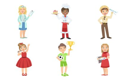 Cute Boys and Girls of Various Professions Set, Doctor, Cook, Pilot, Singer, Soccer Player, Artist, Vector Illustration