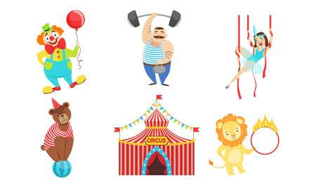Circus Performers Characters Set, Strongman, Air Gymnast, Clown, Circus Lion and Bear Vector Illustration on White Background.
