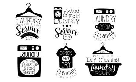 Servicio de lavandería, conjunto de etiquetas de lavado y plegado, tintorería, lavandería, insignias dibujadas a mano vintage, ilustración vectorial monocroma Ilustración de vector