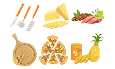 Pizza and All Ingredients for Cooking It Set, Fresh Products and Tools for Pizza Making Vector Illustration 일러스트