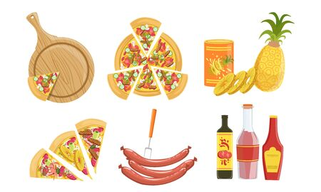 Pizza and All Ingredients for Cooking It Set, Products for Pizza Making Vector Illustration