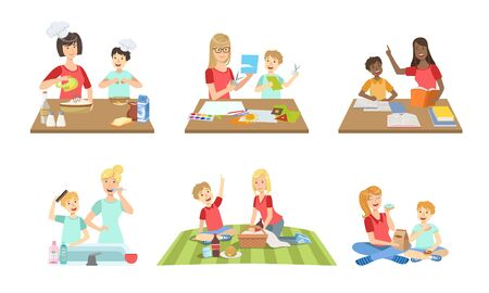 Mother and Son Performing Daily Activities Together Set, Cooking, Reading Book, Making Applique, Having Picnic Vector Illustration Illustration