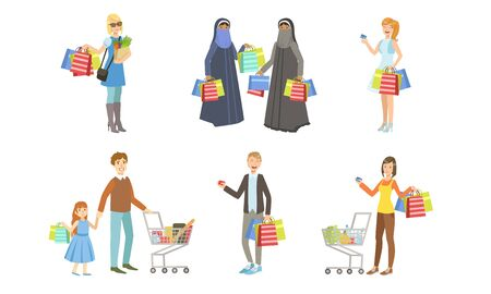 Collection of Different People Carrying Shopping Bags with Purchases, Men and Women Taking Part in Seasonal Sale at Mall, Store or Shop Vector Illustration
