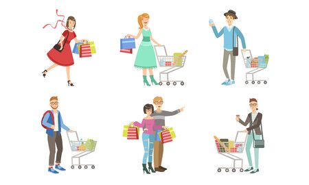 Collection of Different People Carrying Shopping Bags with Purchases and Pushing Carts Full of Groceries Vector Illustration