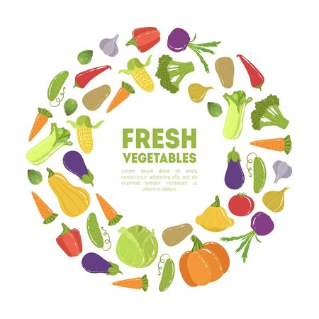 Fresh Vegetables Round Frame, Ripe Organic Natural Products Circle Border Template with Space for Text Vector Illustration