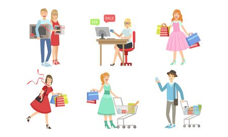 Collection of People Carrying Shopping Bags with Purchases, Online Shopping, Men and Women Taking Part in Seasonal Sale at Mall, Store or Shop Vector Illustration Illustration