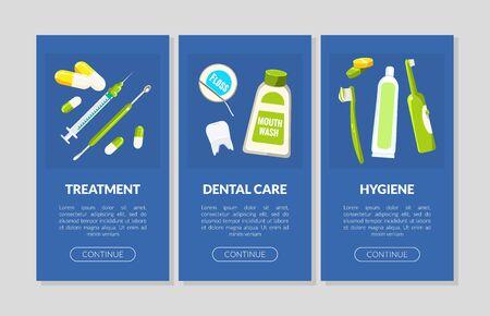 Treatment, Dental Care, Hygiene Landing Pages Set, Dental Service Website, App Templates Vector Illustration Illustration