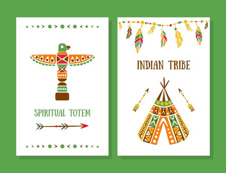 Spiritual Totem, Indian Tribe Cards Collection, Boho Style Template Can be Used for Banner, Flyer, Placard Vector Illustration