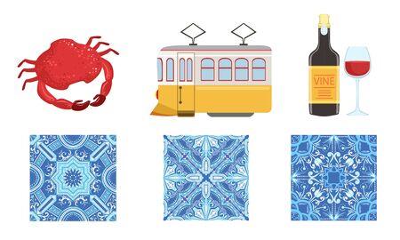 Traditional Portugal Symbols Set, Historical Signs of Lissabon, Travel to Portugal Design Elements Illustration Ilustracje wektorowe