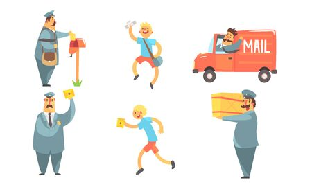 Postmen Delivering Letters Set, Funny Deliverymen Cartoon Characters with Parcels, Shipping Service Vector Illustration Ilustracja