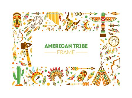 American Tribe Frame, Native Ethnic Symbols Border Template with Space for Text Vector Illustration