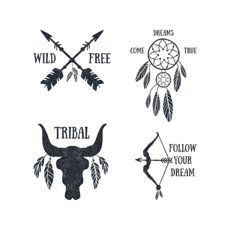 Boho Style Collection, Wild Free, Come Dreams True, Follow Your Dream Templates Can be Used for Banner, Flyer, Placard, Card Black and White Vector Illustration