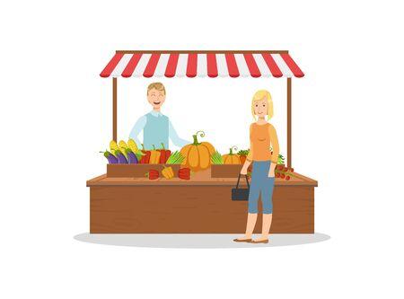 Verkäufer, der frisches Bio-Gemüse auf dem lokalen Bauernmarkt verkauft, frische natürliche Bio-Produkte auf der Theke, männlicher Verkäufer und Kundenvektorillustration Vektorgrafik