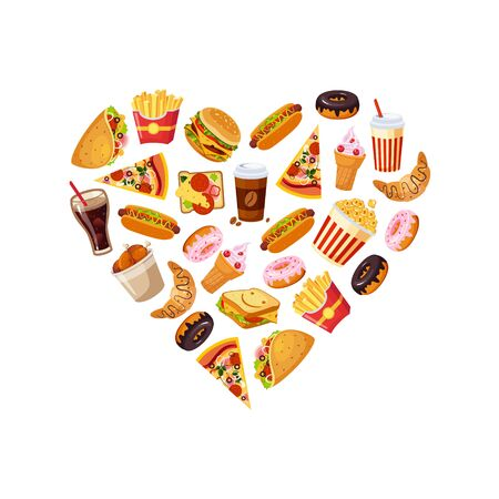 Fast Food Banner Template with Tasty Unhealthy Dishes Seamless Pattern in Heart Shape Vector Illustration, Web Design. Imagens - 130105521