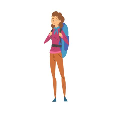 Female Tourist Standing with Backpack, Young Woman Going on Summer Vacation, Hiking, Adventures, Active Recreation Vector Illustration on White Background.