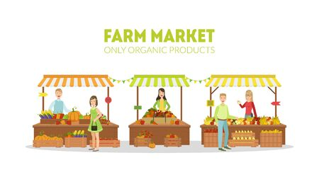 Farm Market, Farmers Selling Fresh Natural Organic Products on Stalls with Awnings on Organic Market Vector Illustration