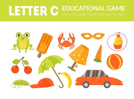 Letter C Educational Game for Kids Template, Circle the Objects That Start with Letter C Vector Illustration Illusztráció