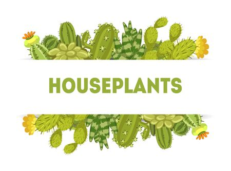 Houseplants Banner Template with Cute Cactus and Succulent Plants Vector Illustration Фото со стока - 130641920