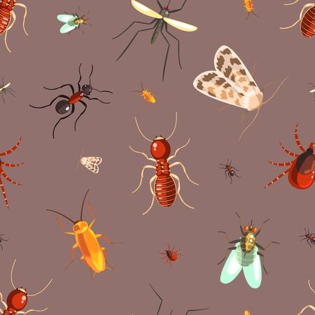 Insects Seamless Pattern with Moths, Ants, Cockroaches, Flies Vector Illustration Ilustrace