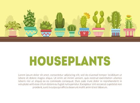 Houseplants Banner Template with Cute Cactus and Succulent Plants and Space for Text Vector Illustration