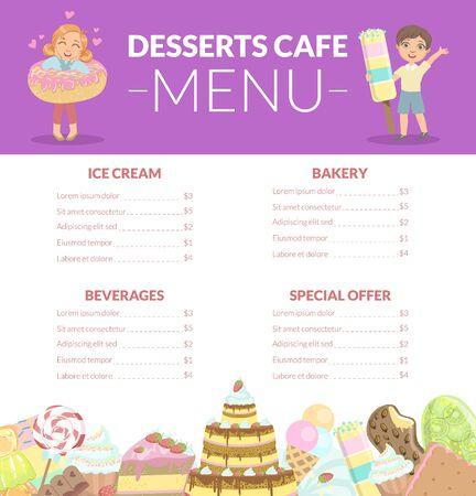 Desserts Cafe Menu, Kids Food Menu, Ice Cream, Beverages, Bakery, Special Offer Vector Illustration Vectores