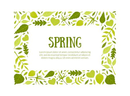 Spring Rectangular Frame, Green Leaves Border Template with Space for Text Vector Illustration Иллюстрация