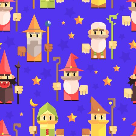 Cnomes and Dwarves Seamless Pattern, Fantasy Game Heroes, Element Can Be Used for Fabric Print, Wallpaper, Packaging Vector Illustration